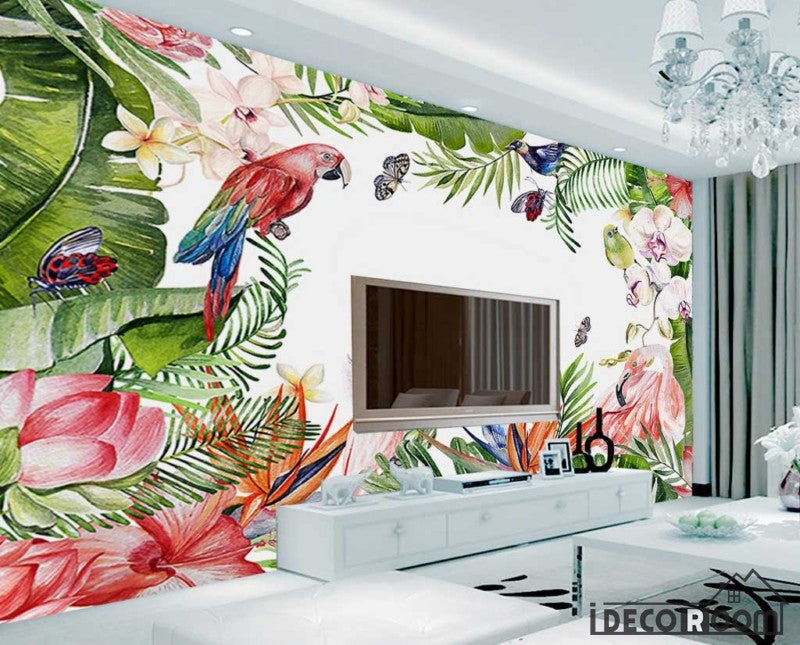 Modern Watercolor Tropical Parrot Plant Wallpaper Wall Murals Idcwp Hl 000462