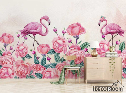 Image of Modern minimalist rose floral flamingo wallpaper wall murals IDCWP-HL-000467
