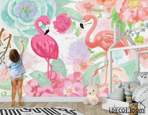 Image of Nordic abstract idyllic rose flamingo wallpaper wall murals IDCWP-HL-000469