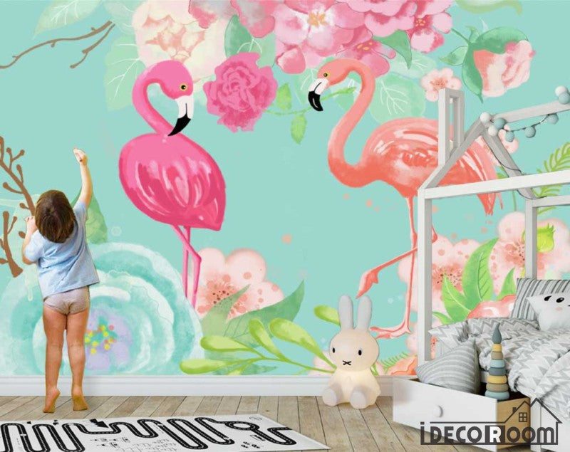 Nordic abstract idyllic flamingo rose wallpaper wall murals IDCWP-HL-000470