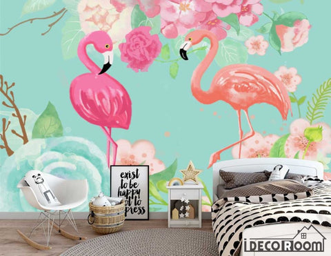 Image of Nordic abstract idyllic flamingo rose wallpaper wall murals IDCWP-HL-000470