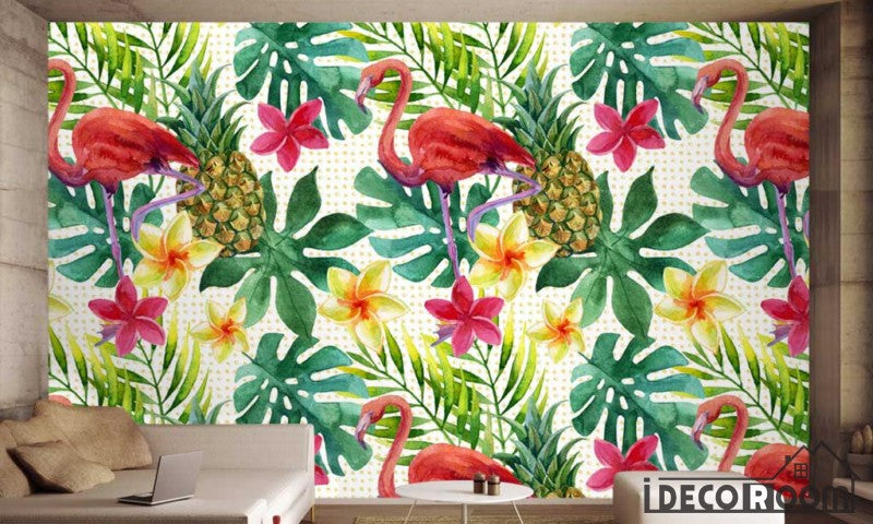 Nordic plant flower pineapple flamingo  wallpaper wall murals IDCWP-HL-000477