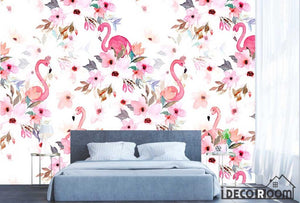 Nordic flamingo  floral wallpaper wall murals IDCWP-HL-000487