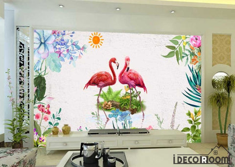 Nordic retro  floral flamingo sofa wallpaper wall murals IDCWP-HL-000491