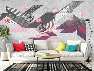 Flamingo abstract geometric minimalism modern wallpaper wall murals IDCWP-HL-000494