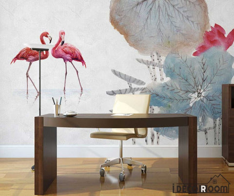 Image of Ink Lotus Lotus Flamingo wallpaper wall murals IDCWP-HL-000500