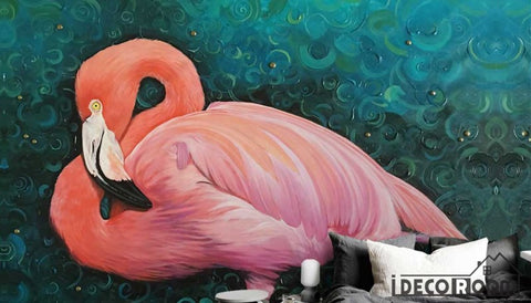 Image of European Oil Painting Flamingo wallpaper wall murals IDCWP-HL-000504