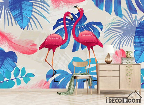 Image of Modern minimalist abstract flamingo wide leave wallpaper wall murals IDCWP-HL-000508