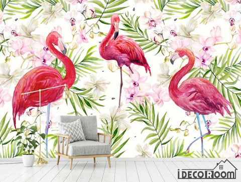Image of Modern Flamingo tropical rainforest Nordic wallpaper wall murals IDCWP-HL-000513
