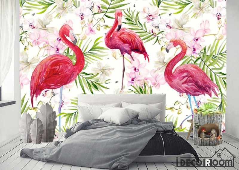 Modern Flamingo tropical rainforest Nordic wallpaper wall murals IDCWP-HL-000513