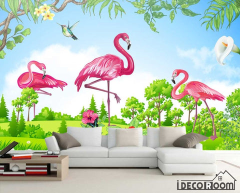 Image of green scenery flamingo  wallpaper wall murals IDCWP-HL-000520
