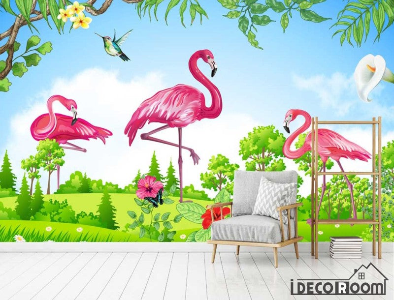 green scenery flamingo  wallpaper wall murals IDCWP-HL-000520