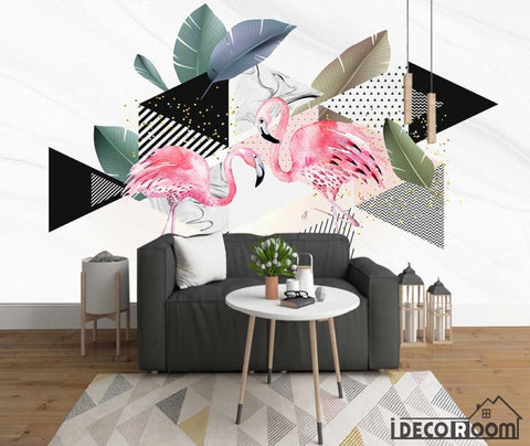 Image of modern minimalist geometric flamingo marble wallpaper wall murals IDCWP-HL-000533