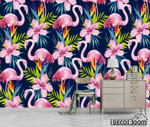 European vintage abstract banana leaf flamingo wallpaper wall murals IDCWP-HL-000537