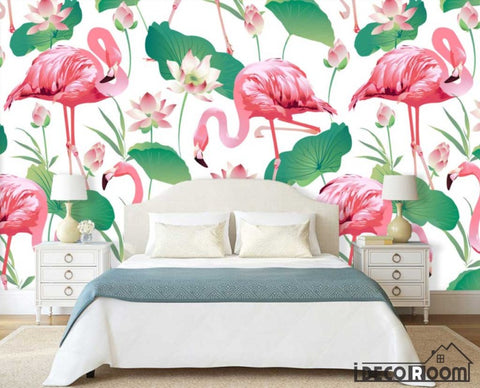 minimalist abstract lotus flamingo industrial wallpaper wall murals IDCWP-HL-000540