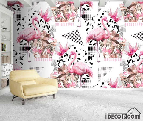 Nordic Floral Flamingo  wallpaper wall murals IDCWP-HL-000558