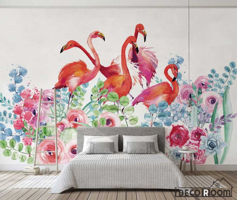 Nordic watercolor  floral flamingo wallpaper wall murals IDCWP-HL-000571