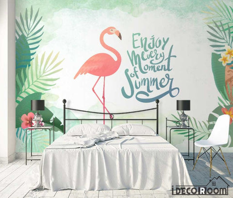Image of New Chinese style green leaf flamingo wallpaper wall murals IDCWP-HL-000580