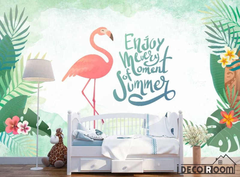 New Chinese style green leaf flamingo wallpaper wall murals IDCWP-HL-000580