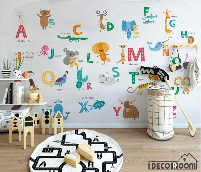 Nordic Cartoon Animal 26 Letter Theme wallpaper wall murals IDCWP-HL-000581