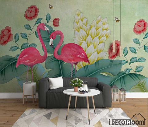 Nordic watercolor flamingo floral butterfly wallpaper wall murals IDCWP-HL-000584