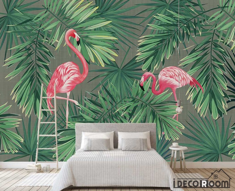 European vintage plant banana leaf flamingo wallpaper wall murals IDCWP-HL-000588