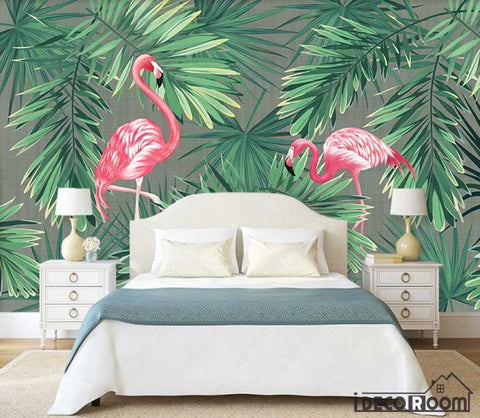 Image of European vintage plant banana leaf flamingo wallpaper wall murals IDCWP-HL-000588