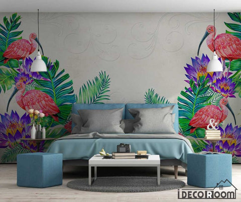 Nordic tropical plant floral flamingo sofa wallpaper wall murals IDCWP-HL-000592