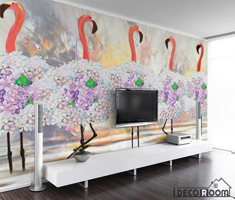 Image of minimalism abstract tropical floral flamingo wallpaper wall murals IDCWP-HL-000602