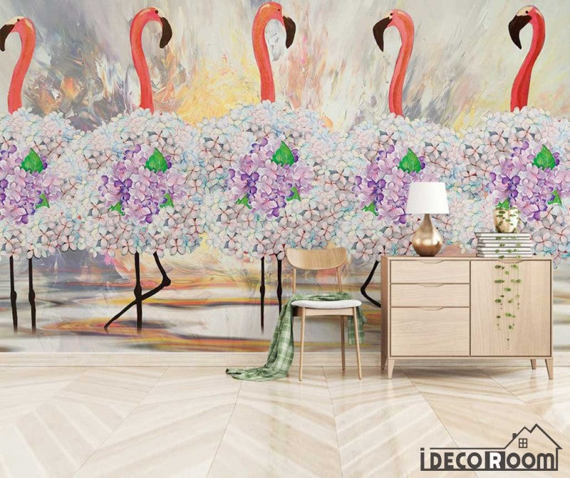 minimalism abstract tropical floral flamingo wallpaper wall murals IDCWP-HL-000602