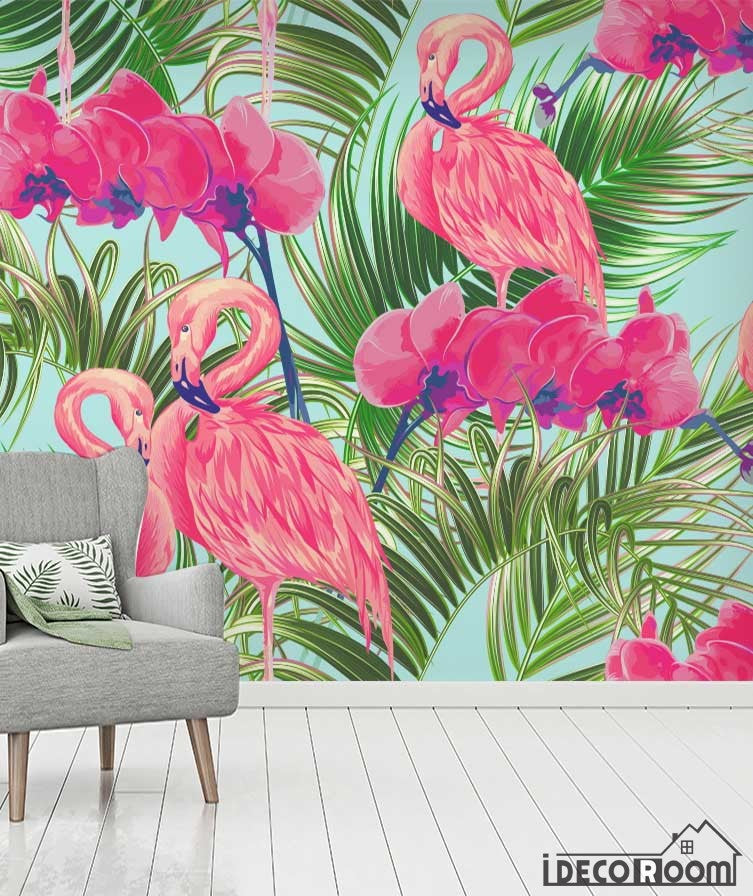 Tropical flowers plants rainforest wallpaper wall murals IDCWP-HL-000625