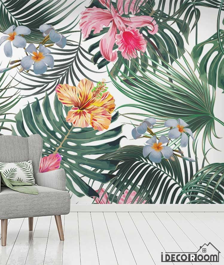 Flowers foliage tropical rainforest wallpaper wall murals IDCWP-HL-000629