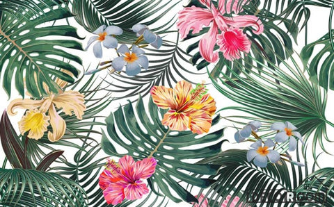 Image of Flowers foliage tropical rainforest wallpaper wall murals IDCWP-HL-000629