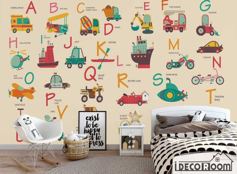 Nordic Cartoon Vehicle 26 Letter Theme wallpaper wall murals IDCWP-HL-000641