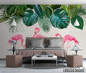 Nordic simple rainforest banana leaf flamingo wallpaper wall murals IDCWP-HL-000642