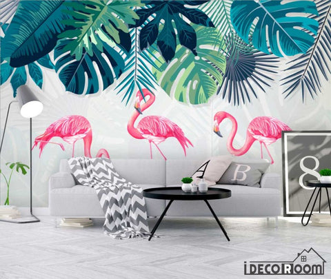 Nordic simple rainforest banana leaf flamingo wallpaper wall murals IDCWP-HL-000643