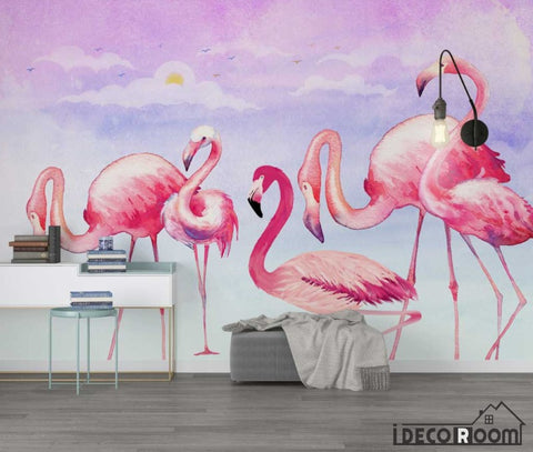 Nordic style modern minimalist  Flamingo wallpaper wall murals IDCWP-HL-000644