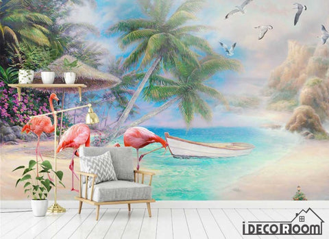 European beautiful scenery sea flamingo painting wallpaper wall murals IDCWP-HL-000646