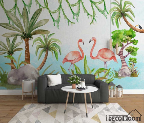 Image of Nordic minimalist cartoon animal flamingo plant wallpaper wall murals IDCWP-HL-000647