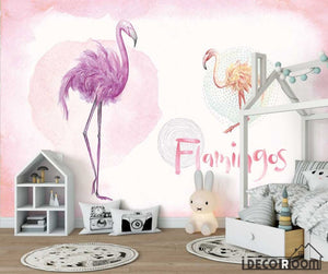 Pink tropical watercolor flamingo flowers birds wallpaper wall murals IDCWP-HL-000648