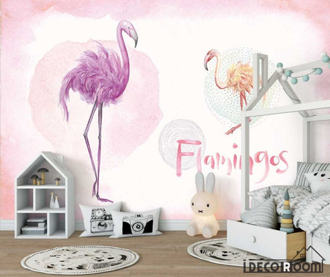 Image of Pink tropical watercolor flamingo flowers birds wallpaper wall murals IDCWP-HL-000648