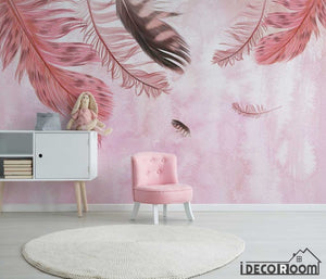 Modern minimalist pink feathers Nordic wallpaper wall muralss IDCWP-HL-000653
