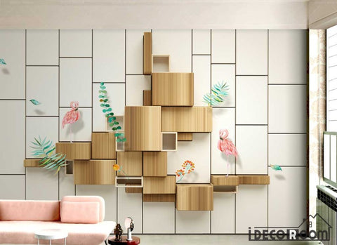 Image of 3d wood flamingo wallpaper wall murals IDCWP-HL-000654