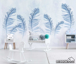 Modern minimalist color feather Nordic wallpaper wall murals IDCWP-HL-000655