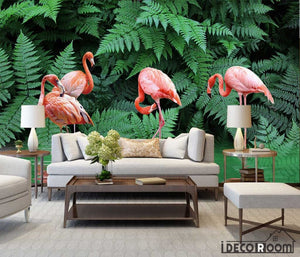 tropical rainforest plant flamingo wallpaper wall murals IDCWP-HL-000657