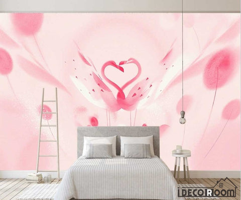 Image of Beautiful romantic pink swan flamingo children wallpaper wall murals IDCWP-HL-000658