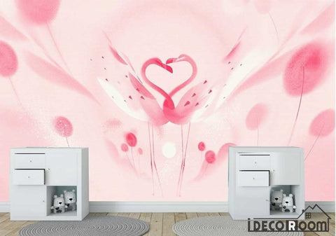 Beautiful romantic pink swan flamingo children wallpaper wall murals IDCWP-HL-000658