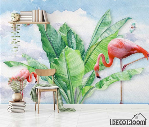 Image of Modern tropical plant flamingo butterfly wallpaper wall murals IDCWP-HL-000659