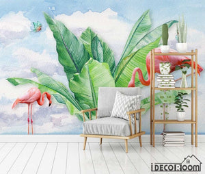 Modern tropical plant flamingo butterfly wallpaper wall murals IDCWP-HL-000659