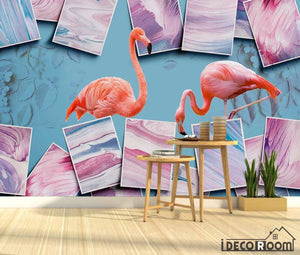 Art abstract color block flamingo floral wallpaper wall murals IDCWP-HL-000662